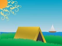 Het kamperen op een grasrijke heuvel dichtbij meer dagvector Stock Foto