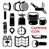 Het kamperen pictogram Stock Foto