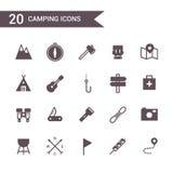 Het kamperen pictogram vastgestelde vector Silhouetpictogrammen Stock Fotografie