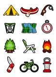 Het kamperen pictogrammen Royalty-vrije Stock Afbeelding