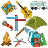 Het kamperen pictogrammen Stock Afbeeldingen