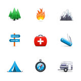 Het kamperen pictogrammen Royalty-vrije Stock Foto
