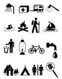 Het kamperen pictogrammen royalty-vrije illustratie