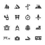 Het kamperen pictogrammen Royalty-vrije Stock Foto's