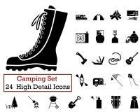 24 het kamperen Pictogrammen Royalty-vrije Stock Afbeelding