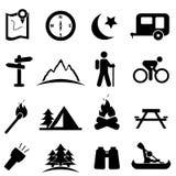 Het kamperen pictogramreeks Stock Foto's