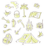 Het kamperen reeks Stock Afbeeldingen