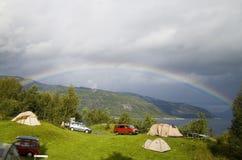 Het kamperen regenboog Royalty-vrije Stock Foto's