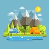 Het kamperen Reis Vlak Landschap met rv-Kampeerauto Stock Foto