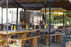Het kamperen restaurant stock foto's