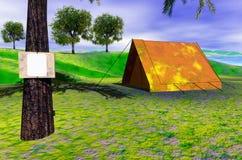 Het kamperen scène Stock Afbeelding