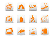 Het kamperen/skipictogrammen Royalty-vrije Stock Foto