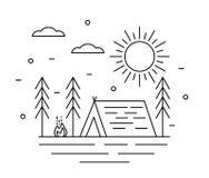 Het kamperen Tent en Brand in Forest Outdoors Line Art royalty-vrije illustratie