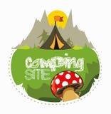 Het kamperen plaats in het bos voor een aardige vakantie Royalty-vrije Stock Afbeelding