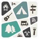 Het kamperen thema abstracte achtergrond stock illustratie