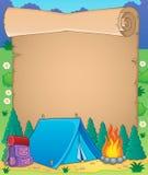 Het kamperen themaperkament 1 Stock Afbeelding