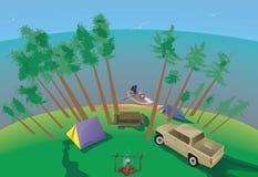 Het kamperen van de zomer Royalty-vrije Stock Afbeeldingen