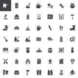 Het kamperen vector geplaatste pictogrammen royalty-vrije illustratie