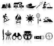 Het kamperen vector geplaatste pictogrammen. EPS 10. Stock Fotografie