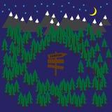Het kamperen vectorachtergrond met bos en bergen Stock Afbeelding