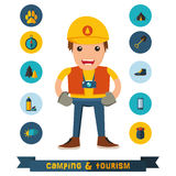 Het kamperen vlakke pictogrammen met het karakter Stock Fotografie