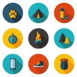 Het kamperen vlakke pictogrammen in vectorformaat Stock Foto