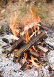 Het kamperen vuur met as Royalty-vrije Stock Foto's