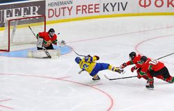 2018 het Kampioenschap Afd. 1, Kyiv, de Oekraïne van de ijshockeyu18 Wereld Stock Foto's