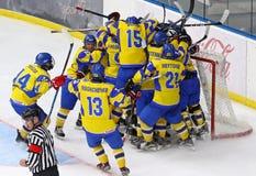 2018 het Kampioenschap Afd. 1, Kyiv, de Oekraïne van de ijshockeyu18 Wereld Stock Afbeeldingen