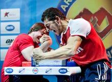 Het Kampioenschap van Armwrestling in Moskou Stock Foto