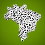 Het kampioenschap van het de wereldvoetbal van Brazilië 2014, de kaartvorm van het land van bal Stock Foto