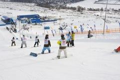 HET KAMPIOENSCHAP VAN RUSLAND OP EEN SNOWBOARD Stock Afbeelding