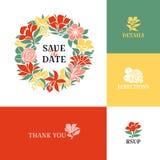 Het kan voor het verfraaien van huwelijksuitnodigingen, groetkaarten en decoratie voor zakken worden gebruikt Vlak kleurrijk ontw Stock Foto