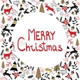 Het kan voor prestaties van het ontwerpwerk noodzakelijk zijn De vrolijke illustratie van Kerstmis De kaart van de vakantie Nieuw royalty-vrije stock afbeeldingen