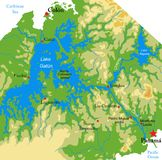 Het Kanaal fysieke kaart van Panama stock fotografie