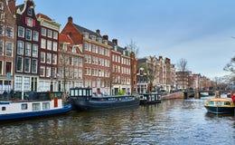 Het kanaal van Amsterdam, Nederland royalty-vrije stock afbeeldingen