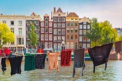 Het kanaal van Amsterdam, Nederland, Nederland stock foto's