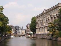 Het Kanaal van Gent in de Zon Stock Afbeeldingen