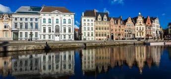 Het kanaal van Gent Gent, België stock fotografie