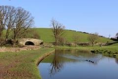 Het Kanaal van Lancaster dichtbij Borwick, Lancashire Stock Afbeelding