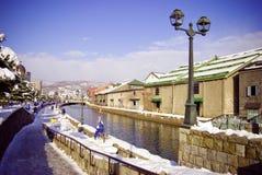 Het kanaal van Otaru in de winter Stock Fotografie
