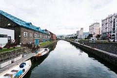 Het kanaal van Otaru in de zomer Stock Fotografie
