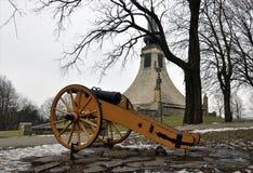 Het kanon en bekijkt de Vredes Herdenkings, Tsjechische Republiek, Europa Stock Fotografie