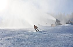 Het kanon van de sneeuw De toevlucht Schladming van de ski oostenrijk royalty-vrije stock afbeeldingen