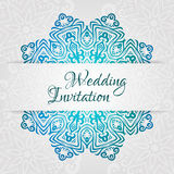 Het kanten vectormalplaatje van de huwelijkskaart Romantische uitstekende huwelijksuitnodiging Abstract cirkel bloemenornament Stock Afbeeldingen