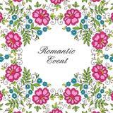 Het kantkader van het bloemontwerp Kleurrijke uitnodiging Royalty-vrije Stock Fotografie
