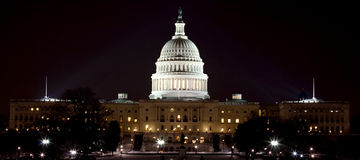 Het Kapitaal van de V.S. bij Nacht stock fotografie
