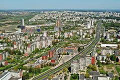 Het kapitaal van de Vilniusstad van de luchtmening van Litouwen Stock Afbeeldingen