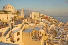 Het kapitaal van Fira van Santorini. Stock Afbeelding