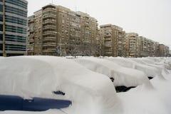 Het kapitaal van Roemenië, Boekarest onder zware sneeuw. royalty-vrije stock afbeelding